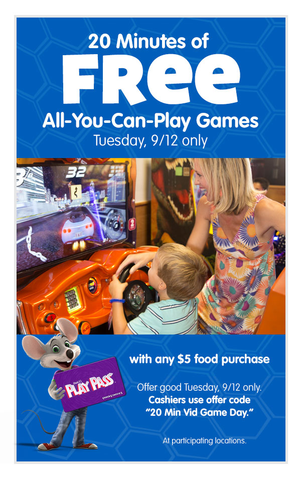 08-05-17-National-Video-Games-Day Chuck E. Cheese's Celebrates National Video Games Day With Free Games